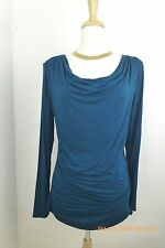 Adrian Papell Teal Long Sleeved Ruched Top Large