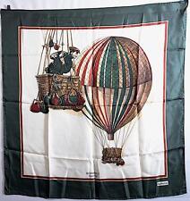 "BURBERRY 100% Pure Silk Authentic Green/White 'Hot Air Balloon' Scarf - 34""x 33"""