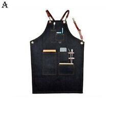 1Pc Denim Bib Apron Leather Strap Barista Baker Bartender Bbq Chef Work Uniform