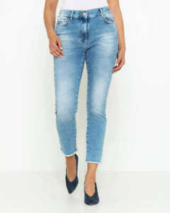 "AB.4619 Designer 5-Pocket-Jeans mit Fransensaum ""hellblau"" Gr. 50"