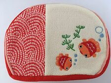 Japanese Chirimen Pouch Gold Fish Red/White Chrysanthemum Zipper w/Bell NEW F/S