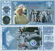 NEW QEII DIAMOND JUBILEE MARIE BYRD LAND 60 PENGUINO FANTASY SPECIMEN NOTE!!