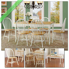 7 Pc Farmhouse Dining Room Sets Table Chairs Wood Windsor Country Set, White Oak