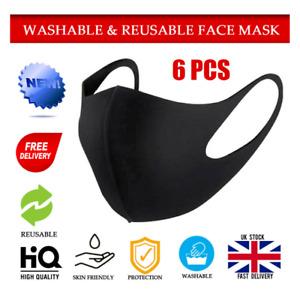6PCS Reusable Face Mask Anti Breathable Sport Mouth Face Masks Washable UK Stock