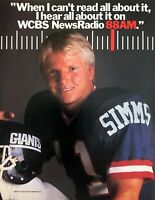 1985 NY Giants Quarterback Phil Simms photo WCBS 88AM Radio vintage print ad