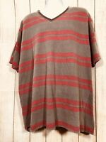 Swiss Cross Men's V Neck Red & Gray Stripe Short Sleeve Tee Size 4 XL (27-B)