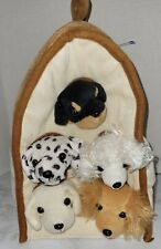 """Unipak 12"""" Plush Dog House Carrying Case with Five Plush Puppies Dogs"""