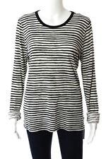 Michael Michael Kors Black White Striped Long Sleeve Tee Shirt Size Large
