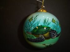 Brand new Round Glass Sea Turtle Christmas Ornament with Red Box