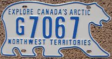 NORTHWEST TERRITORIES Canada License Plate Polar Bear NWT  #G7067