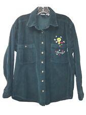 1999 Warner Bros Tweety Green Corduroy Button Down Shirt S
