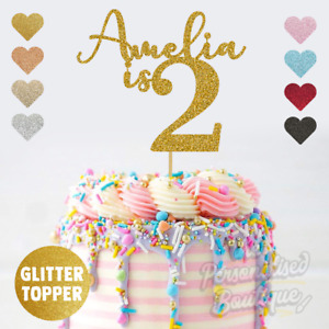 Personalised Custom Glitter Cake Topper, is Two Second 2nd Birthday Girls Boys