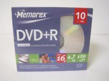 MEMOREX DVD+R 10 PacK 16x 4.7GB 120 MIN VIDEO RECORDABLE JEWEL CASE NEW SEALED
