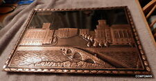 MACEDONIA COPPER WALL DECOR PLAQUE Capitol 17x13 Inches Skopje Ckonje