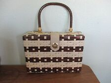 Vintage Tan and Brown Plastic Woven Box Purse Jem Exclusive Imports