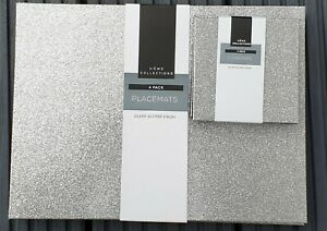 Set of 4 Silver Glitter Dining Table Placemats 4 Matching Coasters Faux Leather