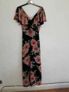 size 8 black flowered long dress from New Look