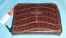 BROWN Faux Alligator Skin ROSARY CASE w/ Zipper Closure NEW FREE SHIPPING in USA