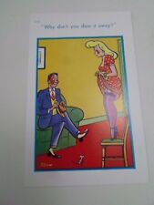 Risque Vintage Postcard FRIGHTENED OF A MOUSE Humour Artist TROW  §A43