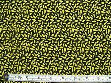 Yellow leaves on black fabric 1 metre x 112cm  Paintbrush Studio 754 100% Cotton