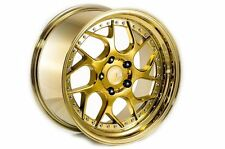 18x9.5/10.5 Aodhan DS01 Rims 5x114.3 +15 Gold Chrome Civic RSX TSX Mazda3 Lancer