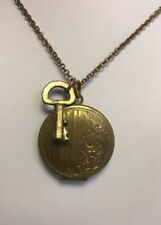 Vinage Brass Art Nouveau Locket Key Necklace Chain Pendant
