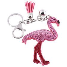 Flamingo Enamel Rhinestone Crystal Bird Key Chain Key Ring Keychain Pink