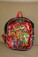 """Super Mario Bros 12"""" School Backpack Book Bag  Kids  Luigi & Mario Red NOS"""