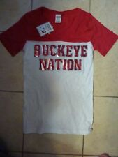 "VICTORIAS SECRET PINK RARE BLING ""BUCKEYE NATION"" OHIO STATE VNECK TEESHIRT NWT"