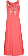Damen Sommer - Kleid Maxikleid Zierausschnitt Bestickt in Koralle Gr 52 / 211822