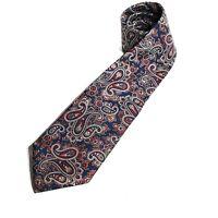 Christian Dior Mens Blue Red Paisley Designer 100% Silk Necktie Tie