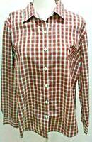 Excellent LL Bean Women's Button Down Red,Green,Gold White Plaid Oxford Shirt XL