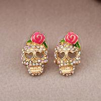 Vintage Lady Jewelry Pink Rose Rhinestone Punk Skeleton Skull Ear Studs Earrings
