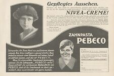 Y4874 Zahnpasta PEBECO - NIVEA Creme - Pubblicità d'epoca - 1927 Old advertising
