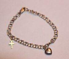 Bog 925 Sterling Silver Child's Charm Bracelet with Cross & Puffy Heart Charms