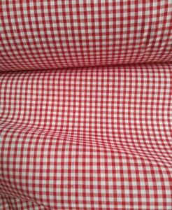 """RED, GINGHAM CHECK 1/8"""" cotton mix fabric sold/PER METRE/"""