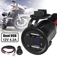 12V 4.2A Dual USB Charger Socket Voltage Voltmeter LED light Car Boat Motorcycle