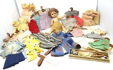 """Vintage 13"""" Composition Doll & 22 Dresses - Sleep Eyes Closed Mouth - Unbranded"""