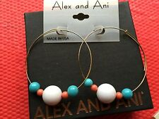 NWT ALEX and ANI INTL VINTAGE Coral WHITE Aqua Beaded GOLD Hoop EARRINGS 💎