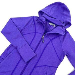 Athleta Women Sz S Rishi Fitted Hooded Full Zip Jacket Purple Hoodie 405057