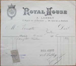 Paris, France 1905 Hotel Letterhead/Bill: Royal House - Place de la Bourse