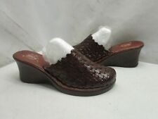 Artesanias Galvez Brown Weaved Leather Slip On Mules Sandals Womens Size 7