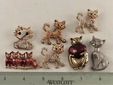 7 CAT BROOCHES- ASSORTED- COSTUME JEWELRY