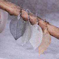 Vintage Women's Long Natural Real Dipped Leaf Leaves Dangle Earrings Hook Studs