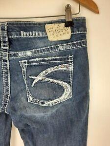 Silver Jeans 28 X33 Aiko Skinny Low Rise Medium Wash Denim Blue Distressed