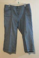 croft & barrow womens capri pants size 12 blue and white stripes R13