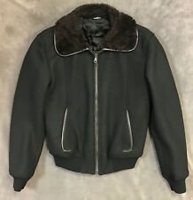 NEW DOLCE & GABBANA $1650 BLACK WOOL BLEND BOMBER JACKET SZ US 46 EURO 56