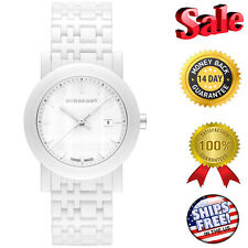 NEW BURBERRY WHITE CERAMIC HERRITAGE SWISS WOMEN'S WATCH BU1870, Fast Shipping