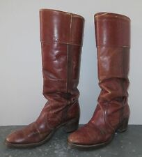 ORIGINAL FREY BOOT, Brown Leather, White Label, Woman's 8 1/2 B, EARLY 1970's
