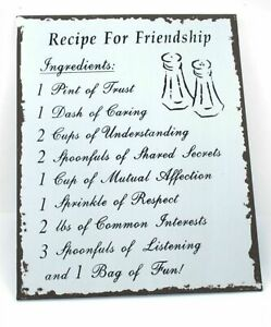 Inspirational Tin Plaques Recipe for Friendship